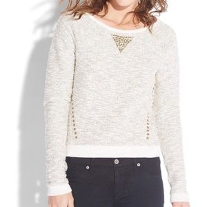 Lucky Lotus Stud Embellished Metallic Sweater